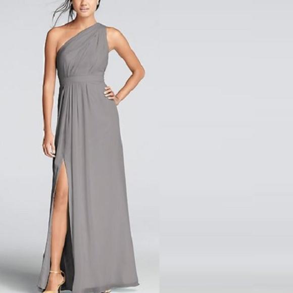 29c521ef68d David s Bridal One-Shoulder Crinkle Chiffon Dress